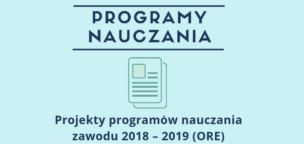 Projekty programów nauczania zawodu 2018 – 2019