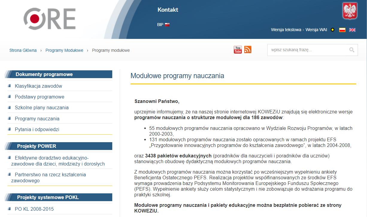 Repozytorium modułowych programów nauczania i pakietów edukacyjnych